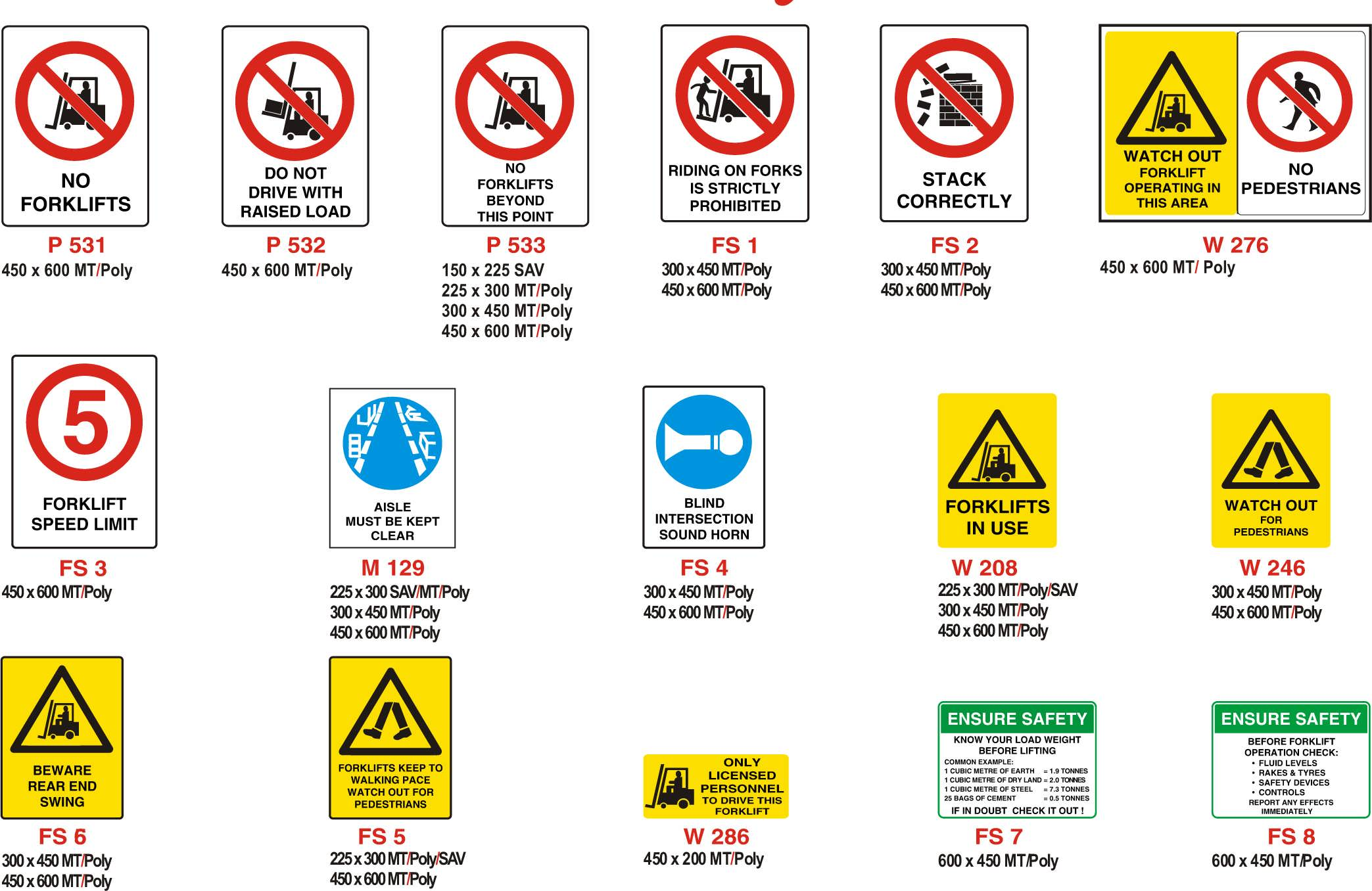 Forklift Safety Signs : Papillon Australia Pty. Ltd.